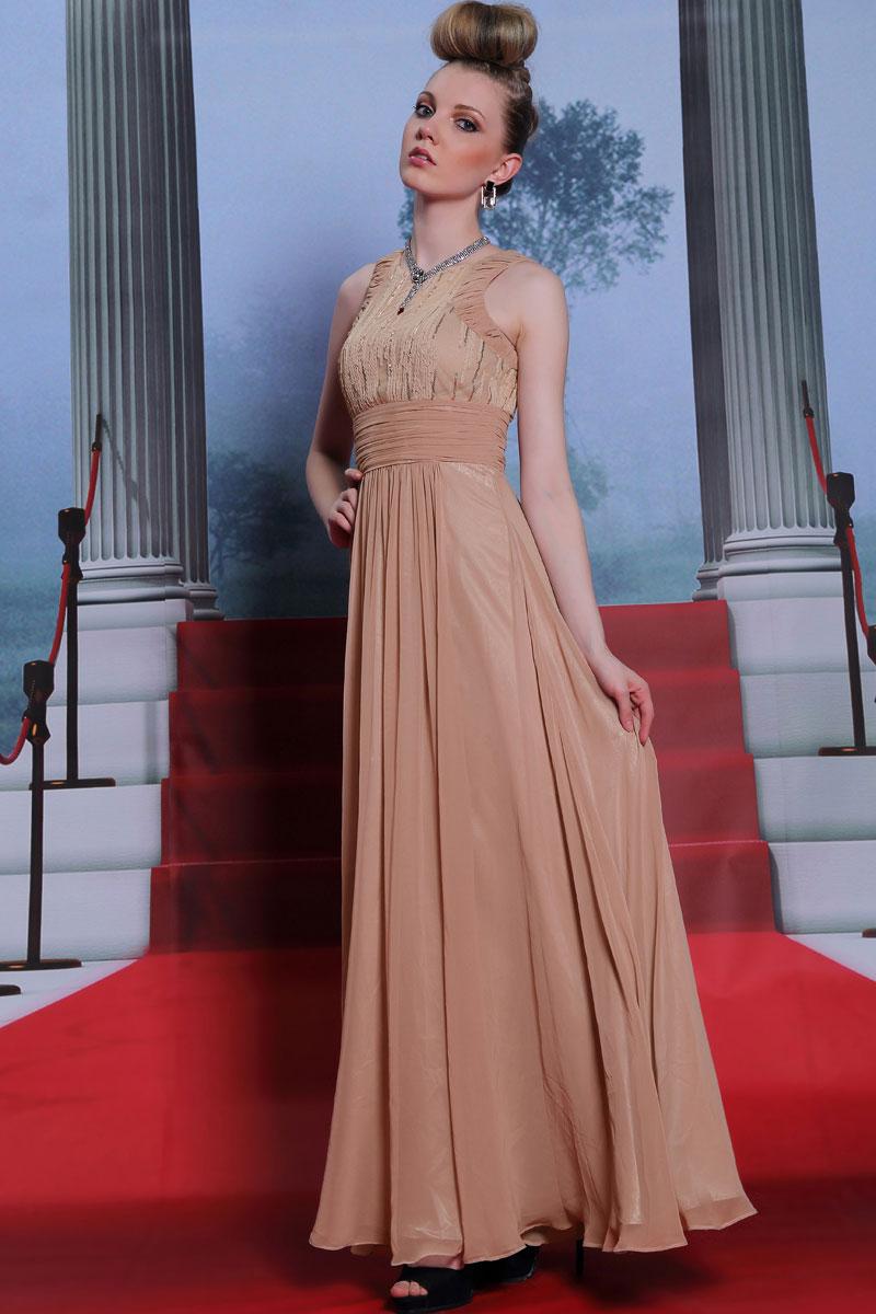 Longue robe du soir en mousseline à taille Empire - Persun.fr