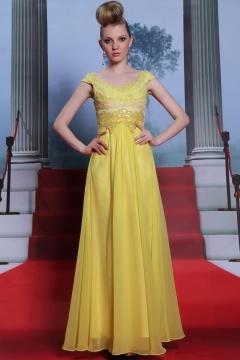 Jaune robe gala dentelle guipure au niveau du col