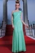 Robe de soirée chic drapée en couleur vert opaline