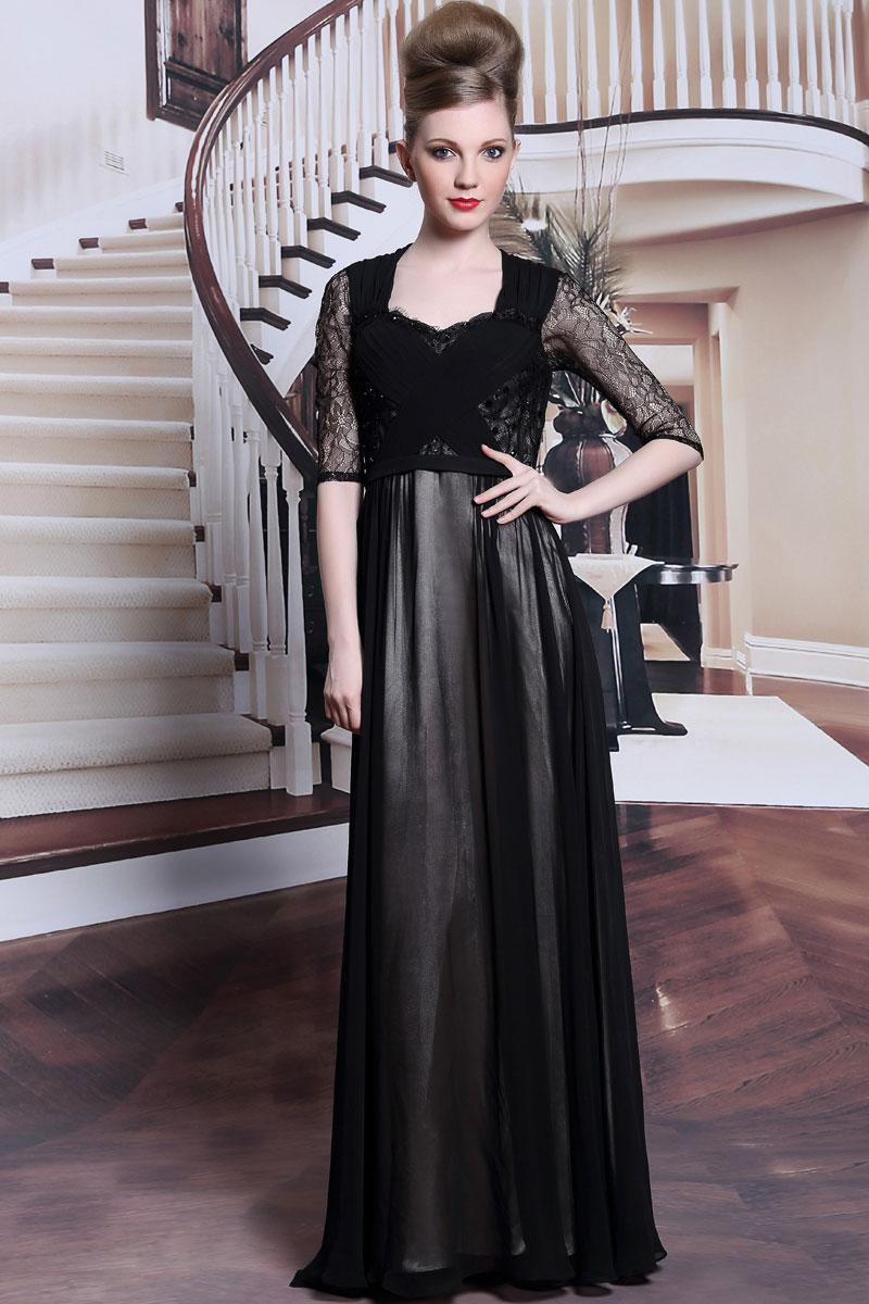 Robe de soiree noire manche longue