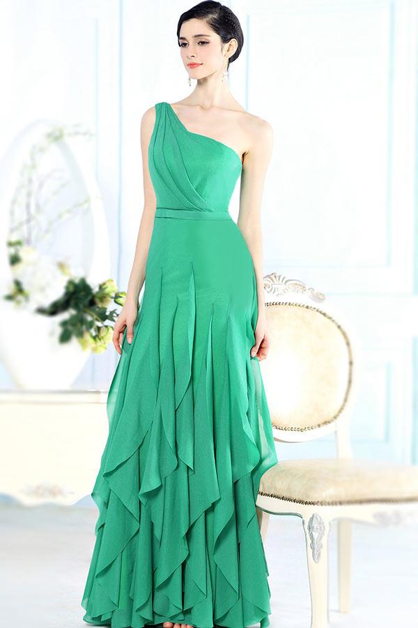 robe de soirée longue vert asymétrique jupe froufrou