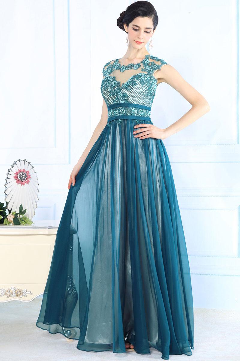 robe classe en couleur bleu canard avec transparence dans le d collet et le dos. Black Bedroom Furniture Sets. Home Design Ideas