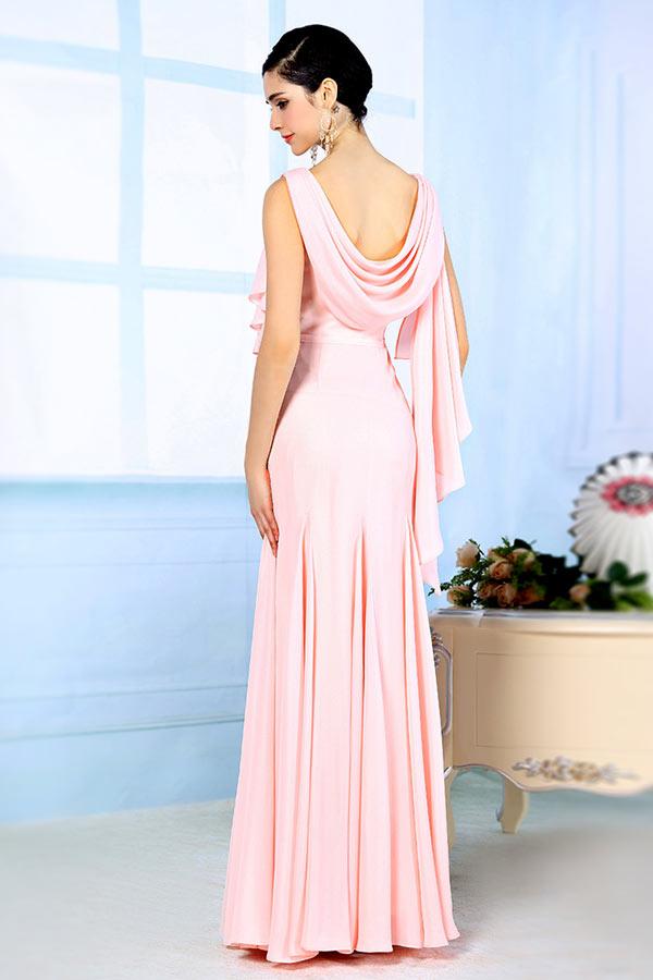 Robe soirée rose ornée de fleurs et paillettes sans manche