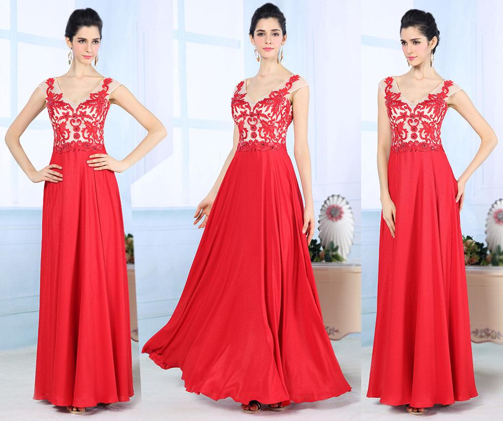 Robe de soirée élégante rouge décolleté V à mancheron