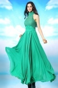 Modern Chiffon Green High Neck Long Ruching Evening Dress Melbourne