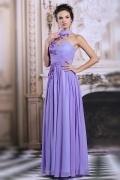 Schöne Lila Stehkragen A Linie Sequins Abendkleider aus Chiffon