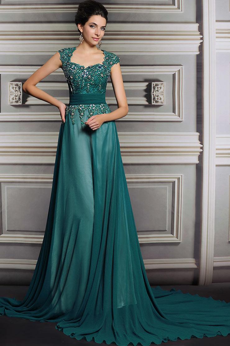 Luxe Soirée Robe De Verte Bijoux Ornée tcWO6WwqgB