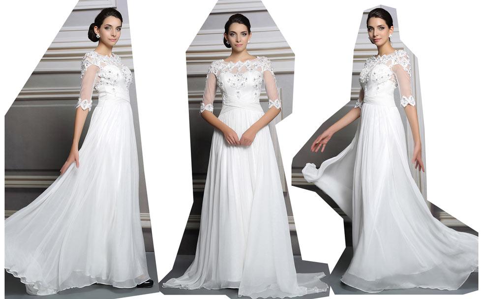 Robe blanche de fiançailles à haut brodé de dentelle à manche courte