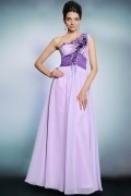 2015 Chic One Shoulder Purple A Line Long Ruching Formal Dress