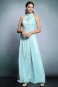 Sexy Blue A Line Chiffon High Neck Long Ruching Evening Dress