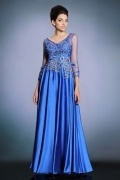 Sexy V Neck A Line Blue Satin Long Evening Dress With Sleeves