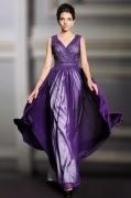 Sexy V Neck Purple A Line Chiffon Long Beading Evening Dress