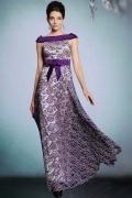 Elegant Purple Lace Bateau A Line Long Formal Dress With Bow