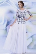 Chic White Chiffon A Line Long Scoop Formal Dress With Sleeves