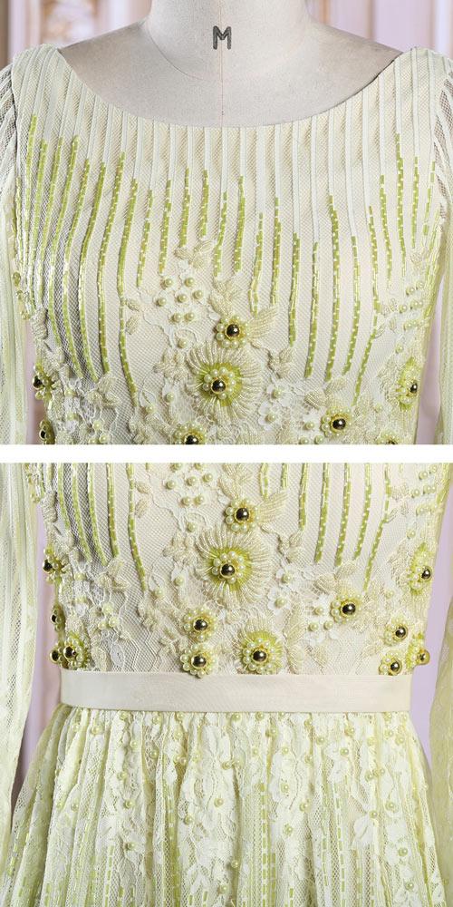 chic robe de soirée longue dentelle fleurie