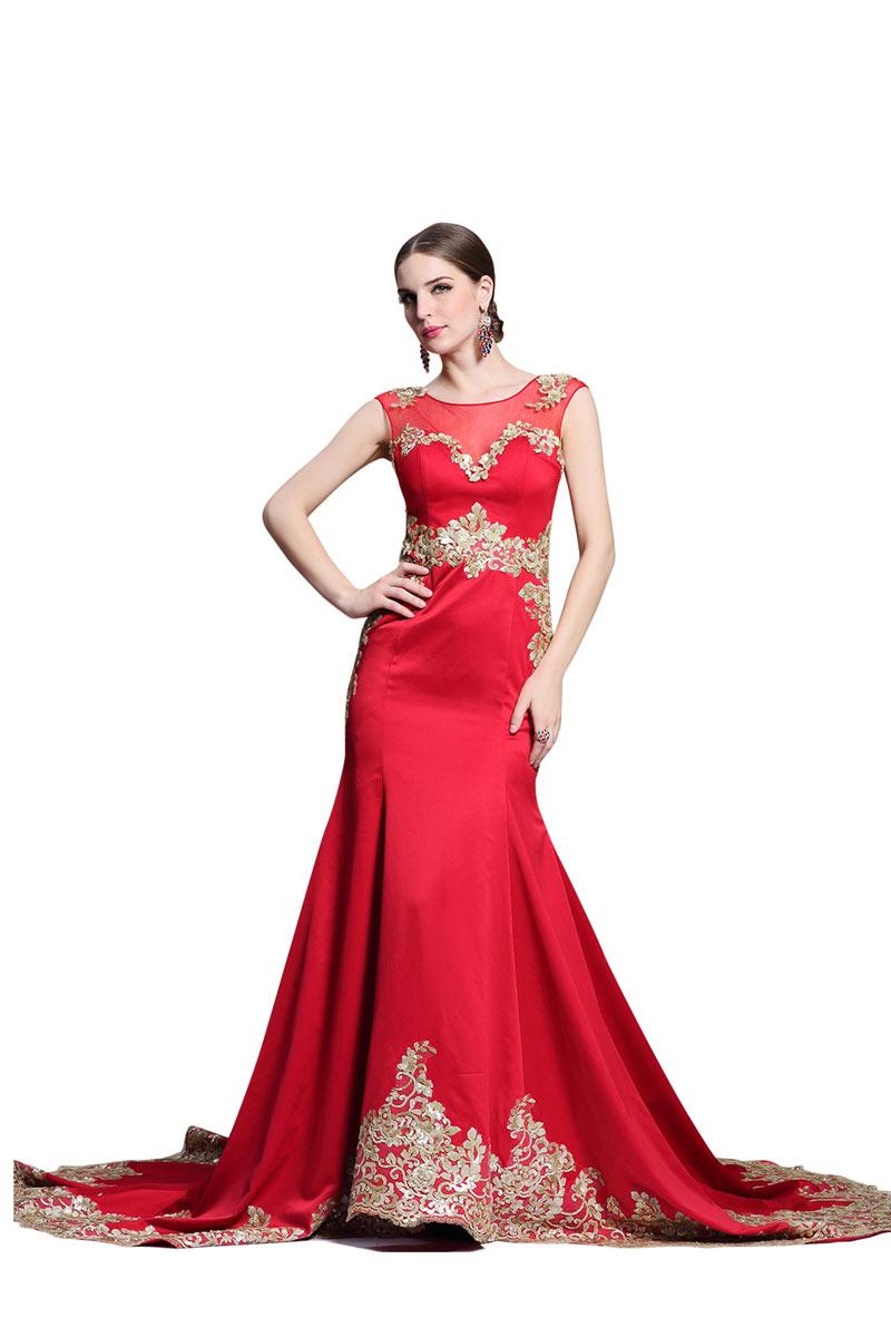 Günstig Chic rotes langes Etui-Linie Abendkleid aus Satin ...