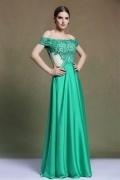 Modern A Line Off the Shoulder Satin Green Evening Dress