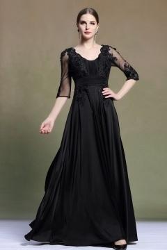 Robe noire longue pour mère de mariée manches courtes