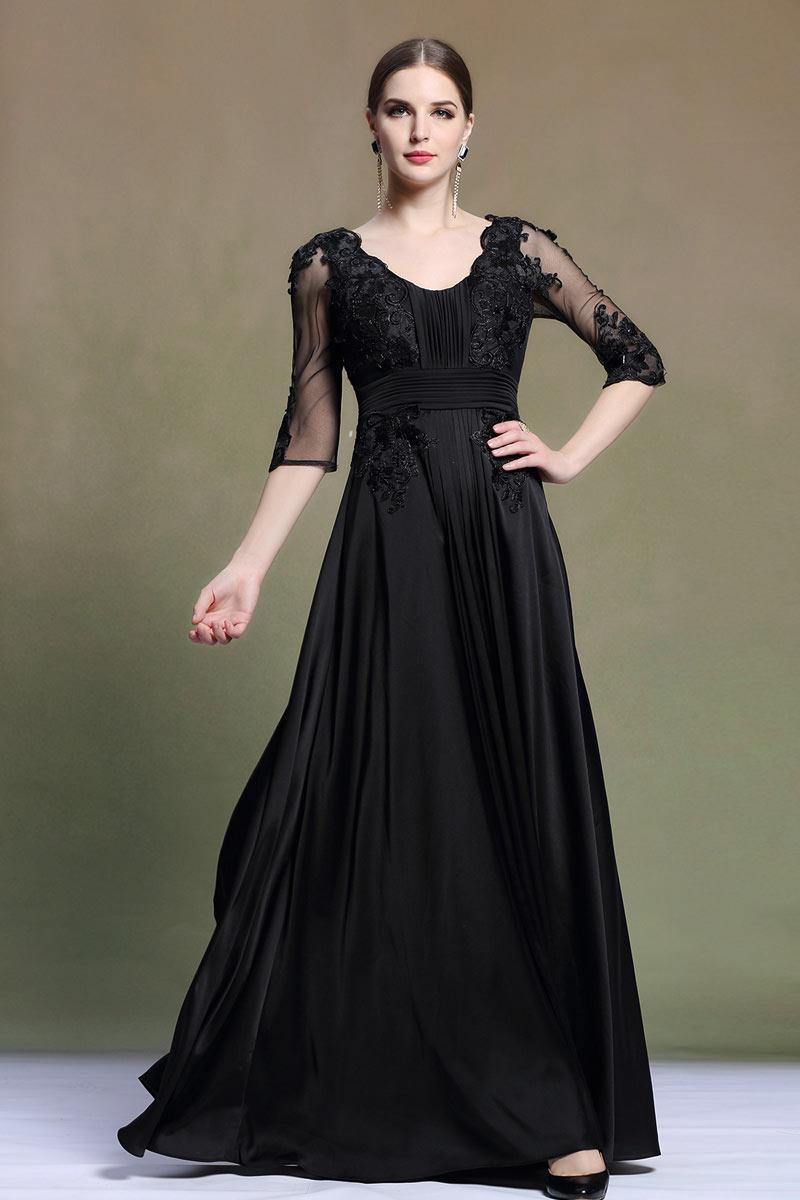 a680ad73952 Robe noire longue pour mère de mariée manches courtes - Persun.fr
