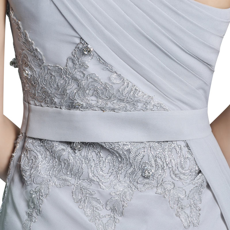 Robe chic grise soirée asymétrique brodée de dentelle & jupe à coupe irrégulière