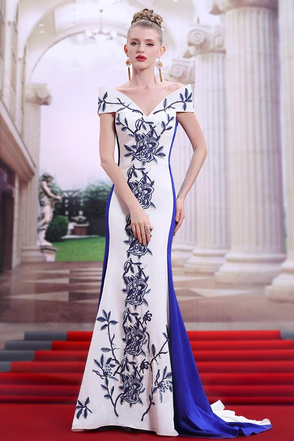 Robe de soirée bicolore sirène blanche & bleu broderie épaule nue