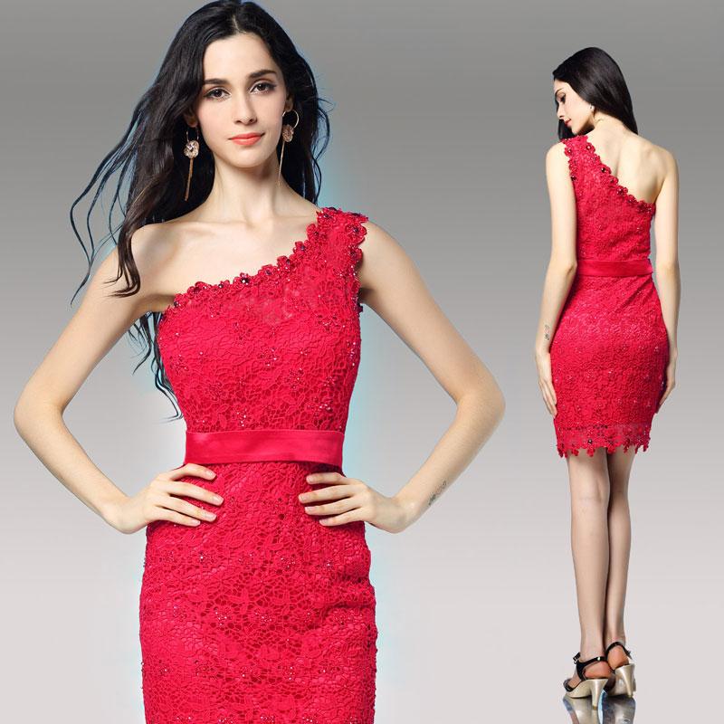 robe cocktail courte asymétrique en dentelle rouge
