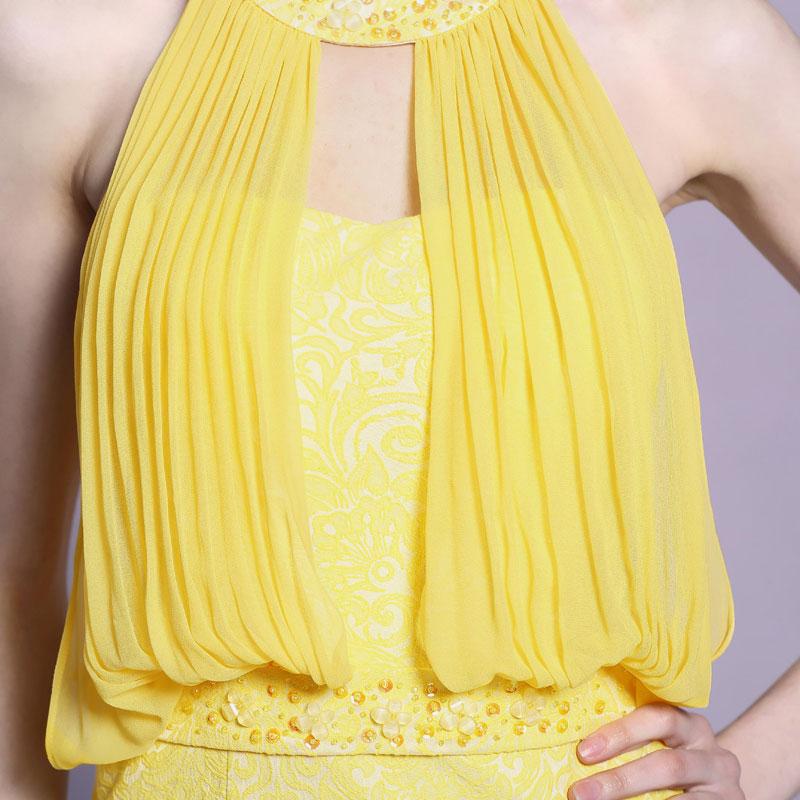 robe jaune col & taille orné de strass