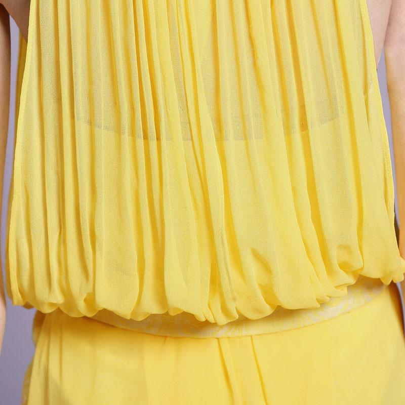 robe de soirée jaune courte devant longue derrière en mousseline