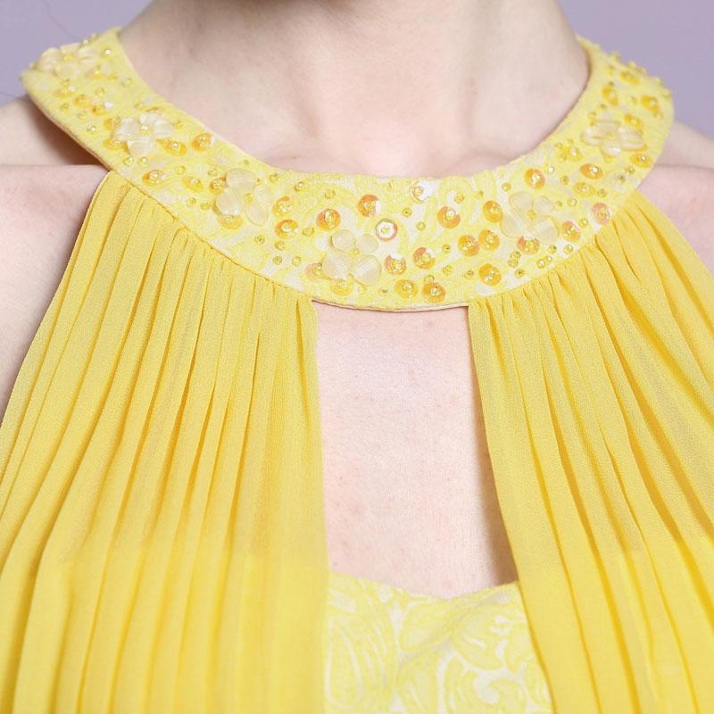 jaune robe de soirée pour mariage col américain orné de strass