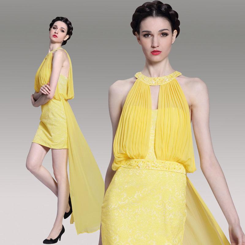 robe jaune courte devant longue derrière moulante orné de strass
