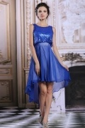 High low Blue Chiffon A line Bateau Evening Dress