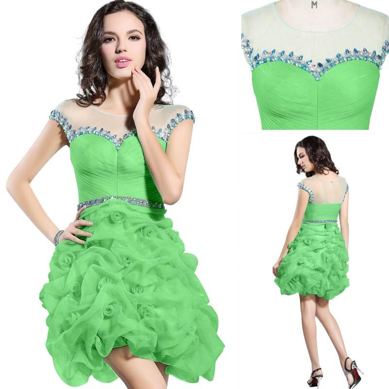 robe de cocktail vert pelouse jupe courte bouillonnée