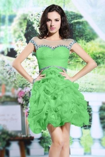 Robe de bal courte en organza vert pelouse jupe froissée