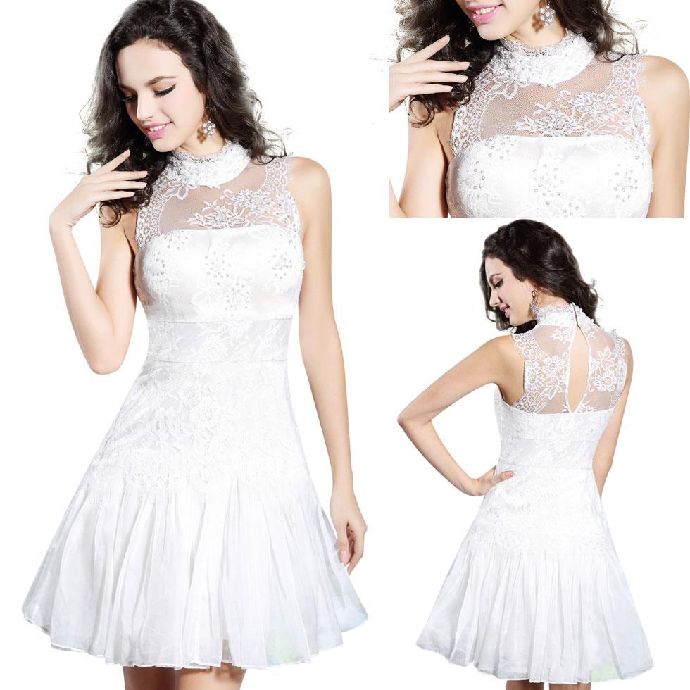 robe de cocktail blanche pour mariage à col montant festons