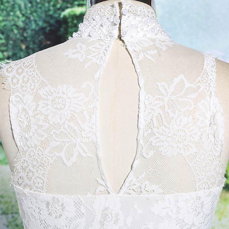 robe de fête blanche courte dentelle dos décolleté