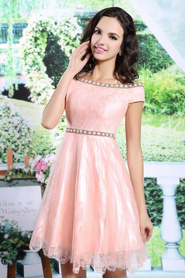 süßes kurzes rosa a-linie tüll abendkleider auf lager