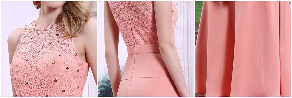 robe de cérémonie rose à haut dentelle ajourée & ornement de strass