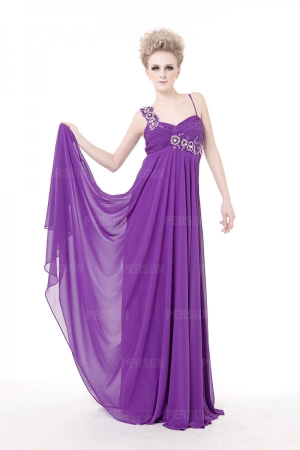 Robe violette chic ruchée ornée de strass empire – Persun.fr 3b5317d335f6