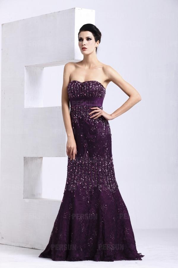 Robe violette sirène dentelle ornée de strass – Persun.fr 9a9d6a51c4d1