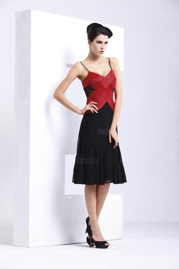 Robe cocktail courte rouge noir avec bretelle bloc couleur