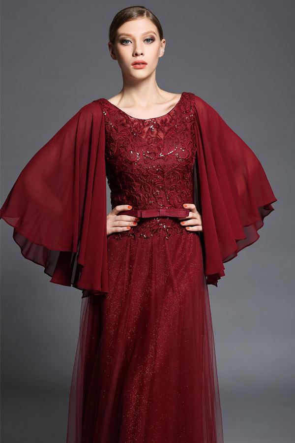 Robe borgogne haut appliquée borderie à manche cape pour soirée