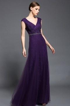 Robe longue violette col v dos nu à mancherons