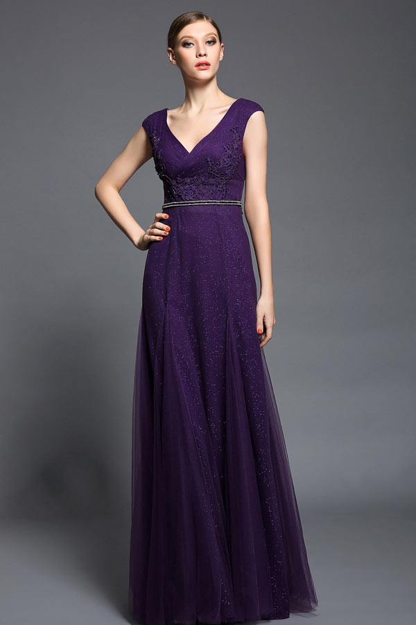 robe de cocktail élégante violette