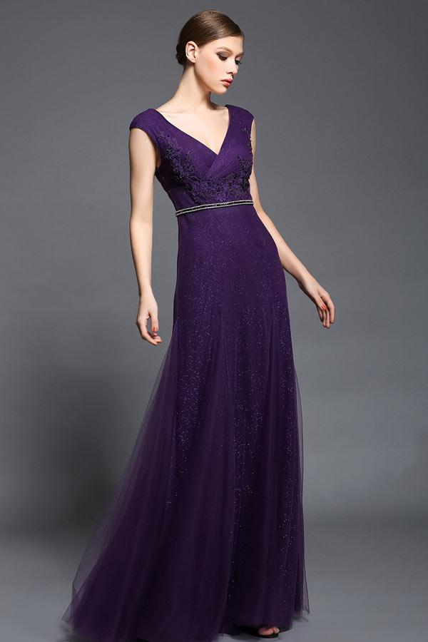 bcbdf1c3ad Robe longue violette col v dos nu à mancherons - Persun.fr