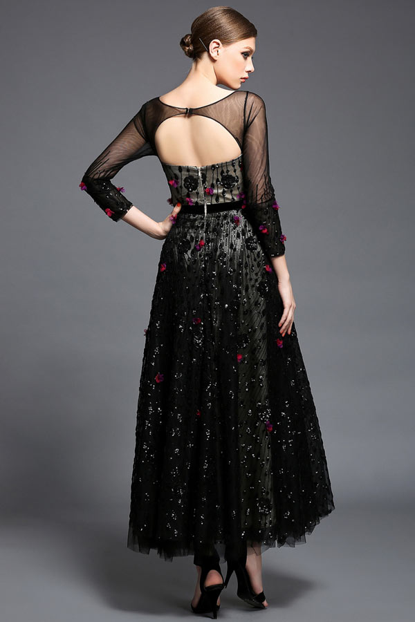 Robe de soiree noire transparente