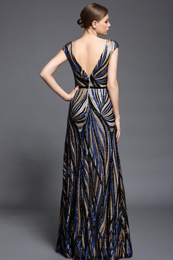 Robe longue tricolore col V transparent à sequins en mancheron pour gala