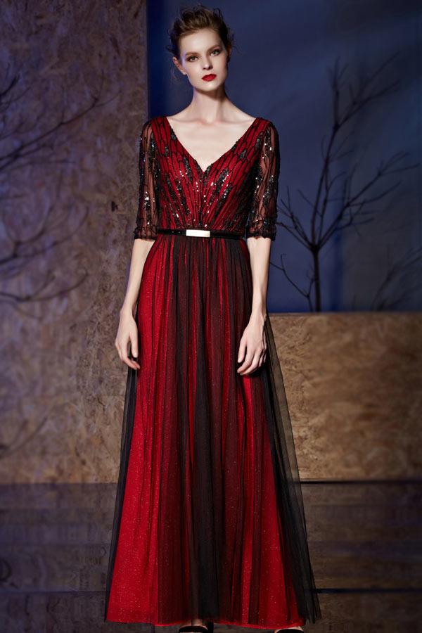 Robe rouge noire longue col v dos dénudé en tulle
