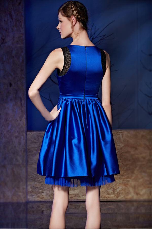 Chic robe bleu  habillée pour cokctail taille à nœud papillon
