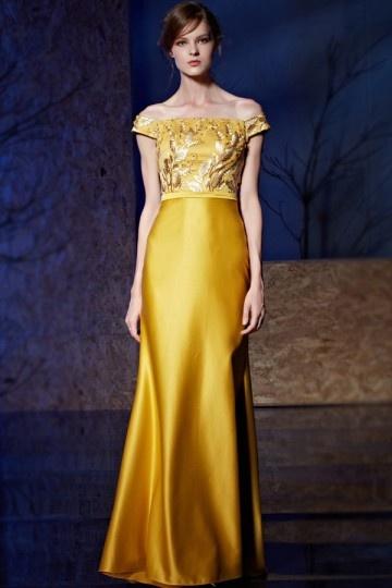 Robe longue dorée épaule degagée à top floral