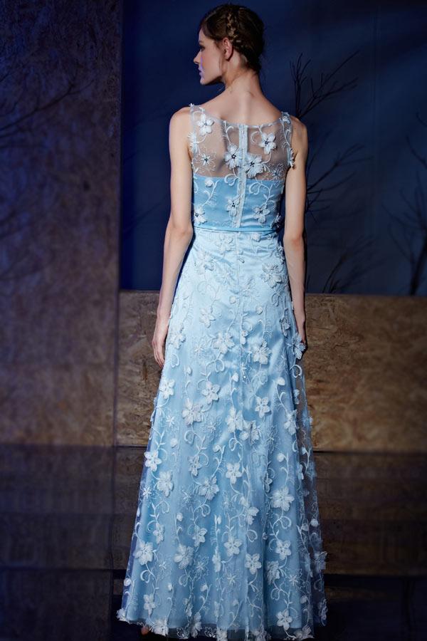 Robe pour concert bleue florale longue encolure illusion vintage